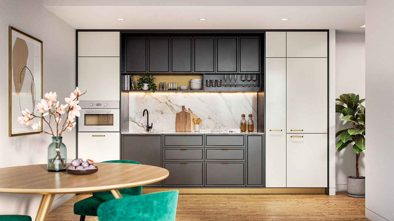 Kitchenette with integrated appliances and cabinetry in apartment at Morgan Glen Iris