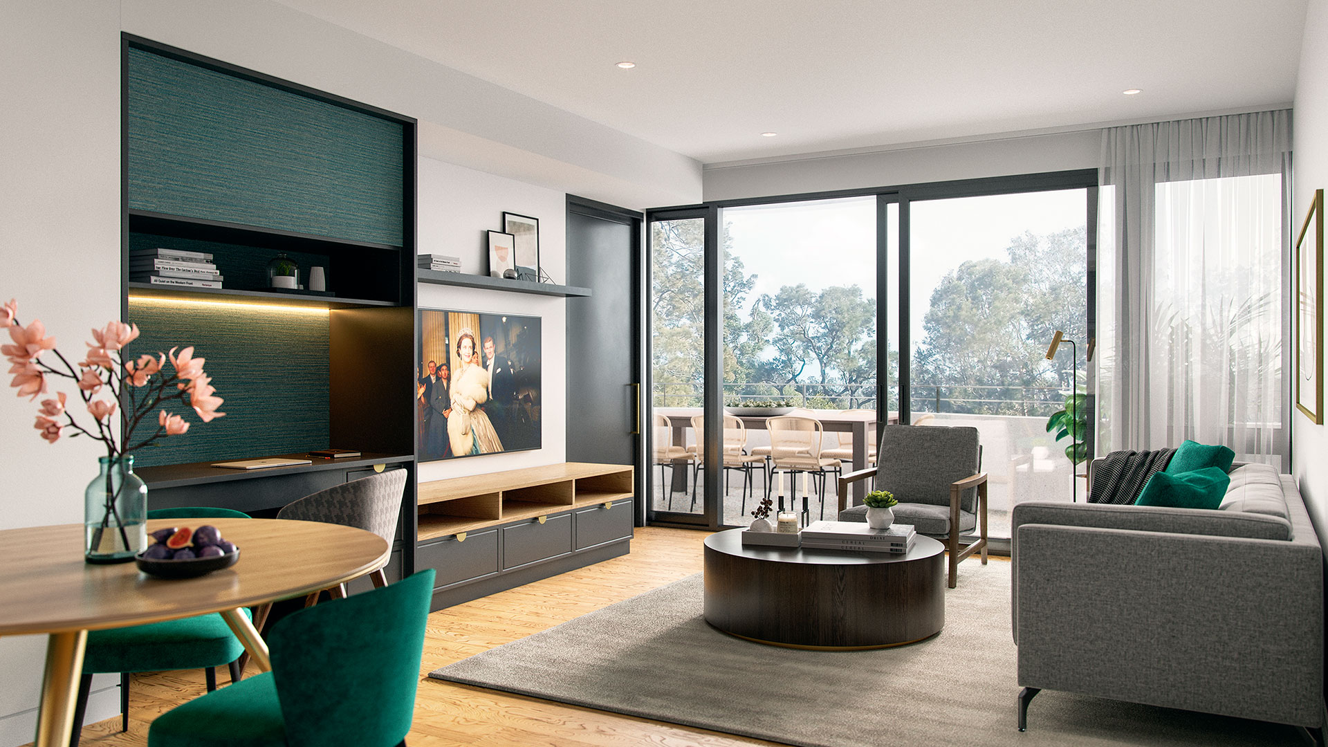 View from dining area, through living out to terrace at Morgan Glen Iris